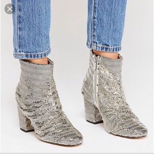 Free people vegan metallic silver booties 10 new